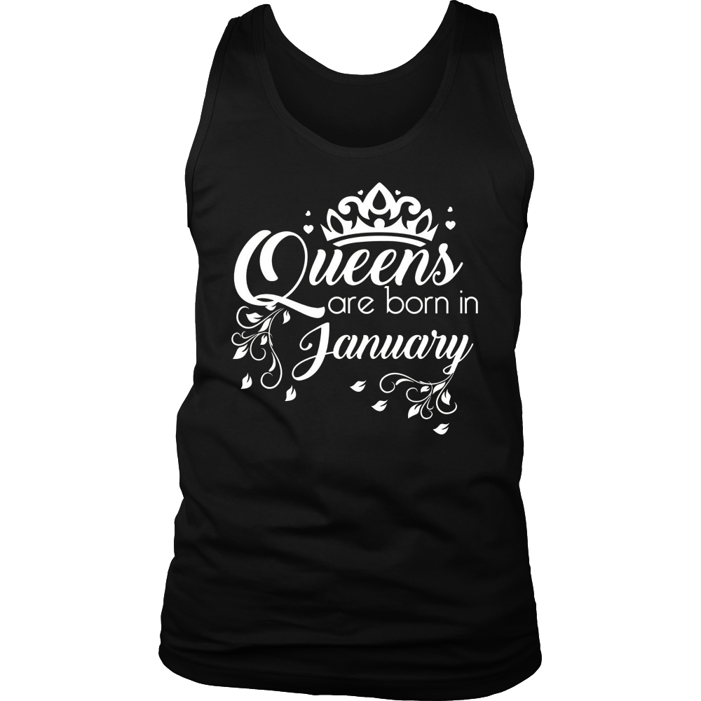 Women's Queens Are Born In January T-Shirt - Birthday Tee