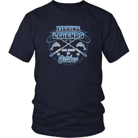 Fishing Legends are Born in October T-shirt
