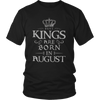 Mens Best Kings Are Born in AUGUST Grey Funny T-shirt