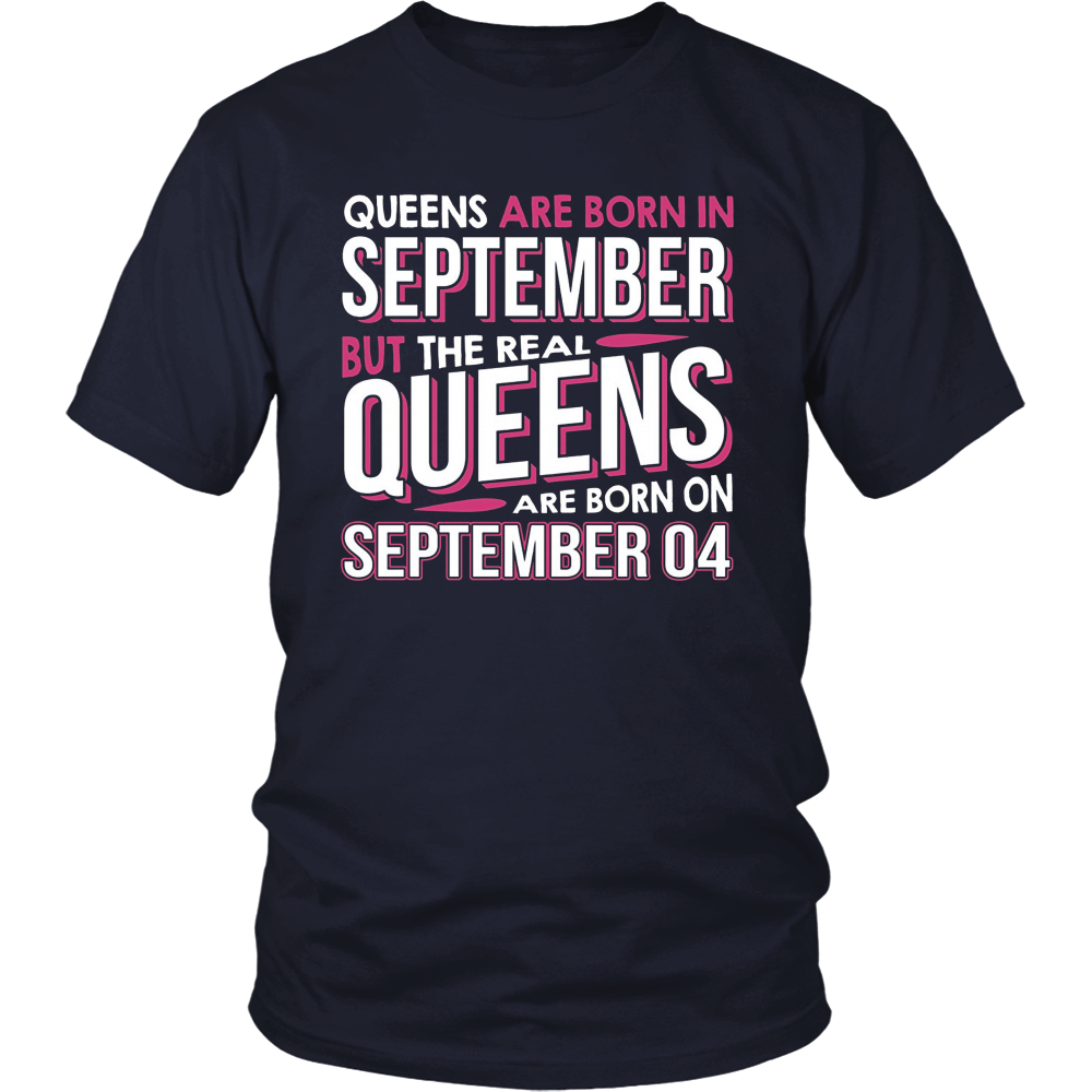Real Queens Are Born On September 04 T-shirt 4th Birthday