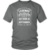 Legends Are Born in September Vintage Birthday Gift T-shirt