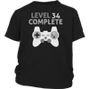 Level 34 Complete - 34th Birthday Funny Video Gamer T-Shirt