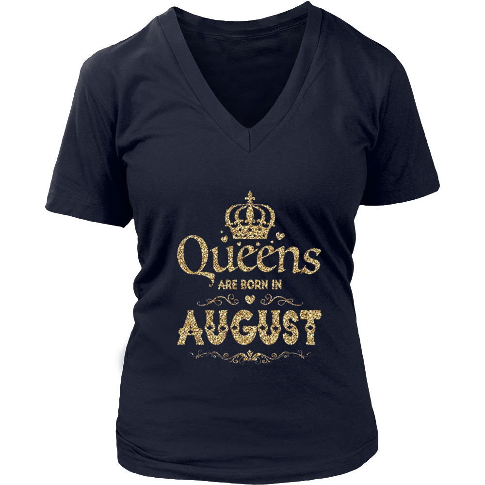 Womens Queens Are Born in AUGUST Vintage Gold