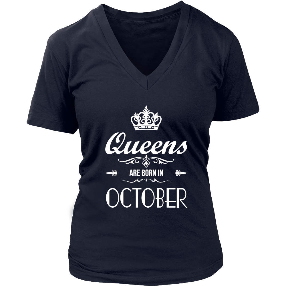 Queens Are Born In October T-Shirt Birthday Gift