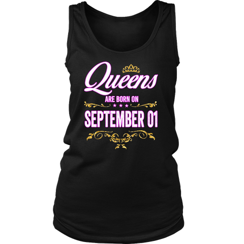 Queens Are Born On September 01 Birthday Gift T-Shirt