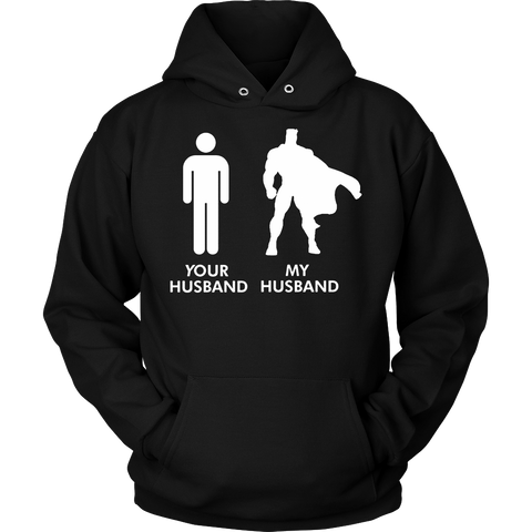 Womens Your Husband vs My Husband Superhero Wife T-Shirt