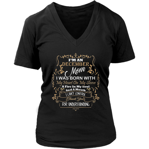 Womens I'm A December Mom T-shirt-Great Birthday Gifts Shirt-Cute.