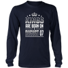 Kings Are Born On August 07 Birthday T-shirt Gift Funny
