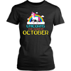 Unicorns Are Born In October Rainbow Artistic Cool T-Shirt