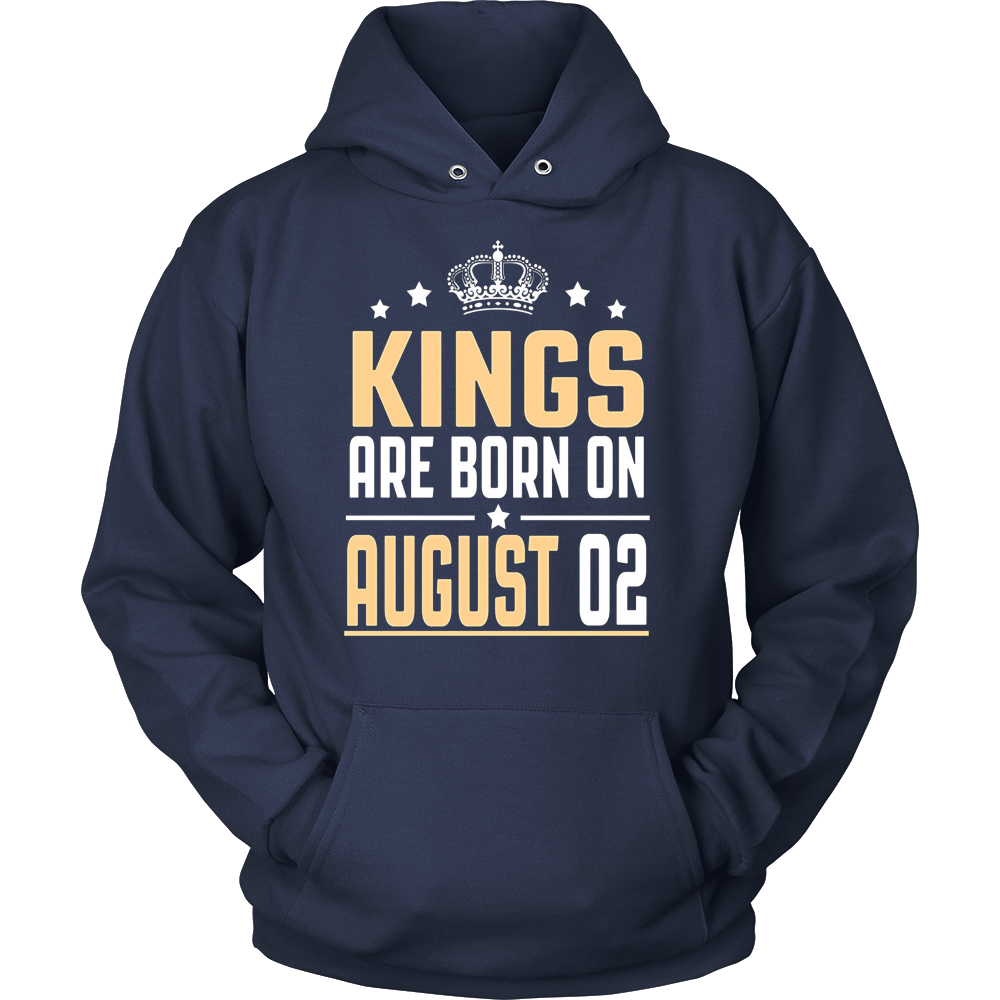 Kings Are Born On August 02 Birthday T-shirts Gift
