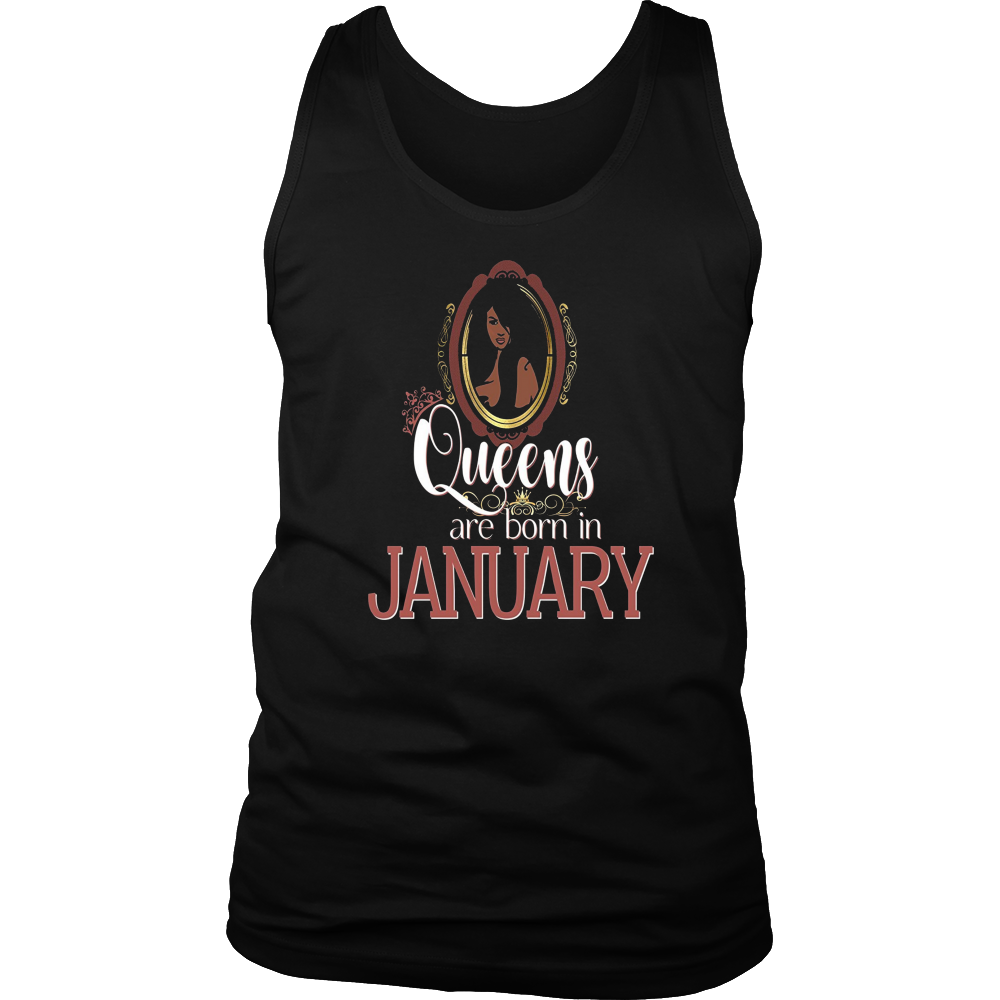 Black Queens Are Born In January Shirt Birthday Pink Gold
