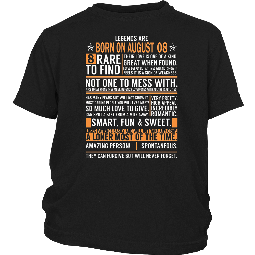Legends Are Born On August 08 Birthday Gift Shirt