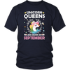 Unicorn Queens Are Born In September T-Shirt Birthday Gift