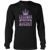 Hockey Legends Are Born In August Birthday Gift T-shirt
