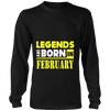 Legends Are Born In February Birthday Gift T-shirt