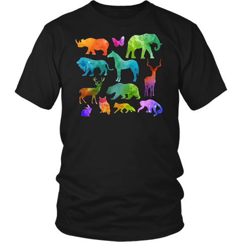 Colorful Animals Kids Shirt Graphic Animal Nature Tee