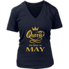 Womens Birthday tshirt: QUEENS are BORN in MAY shirt for Women