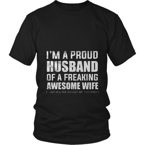 'Proud Husband of an Awesome Wife I Love My Wife Tshirt