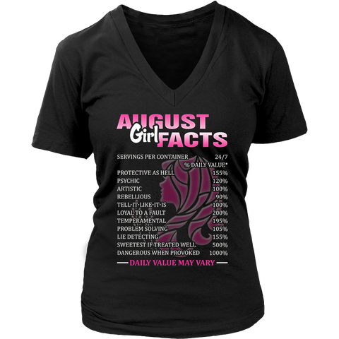 Womens August Girl Facts Born In August Birthday Gift T Shirt