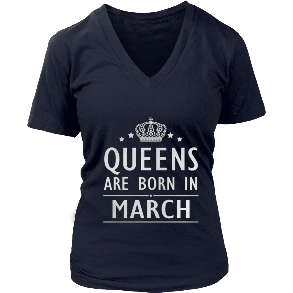 Womens Queens Are Born in March Birthday Tshirt