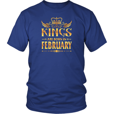 Kings Are Born In February Shirt for Men Gold Birthday Gift