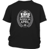 Kings are Born in April Funny T-shirt Birthday Boy Gift