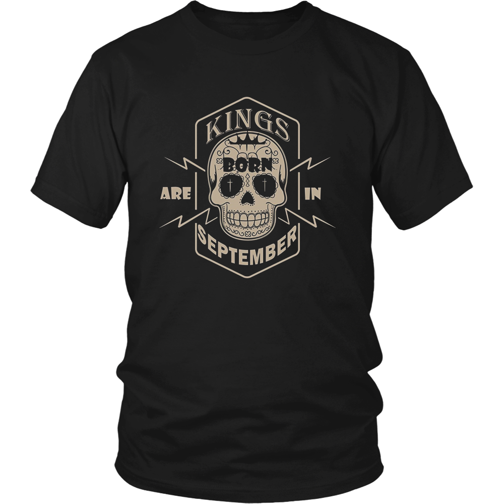 Mens Kings Are Born In September T-Shirt Hoodie Tank-Top