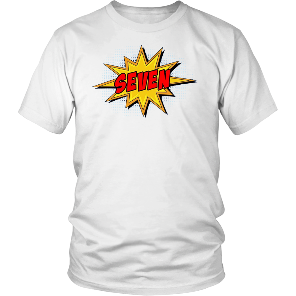 Kids 7th Birthday Comic Superhero T-Shirt for 7 Yr Old Boys