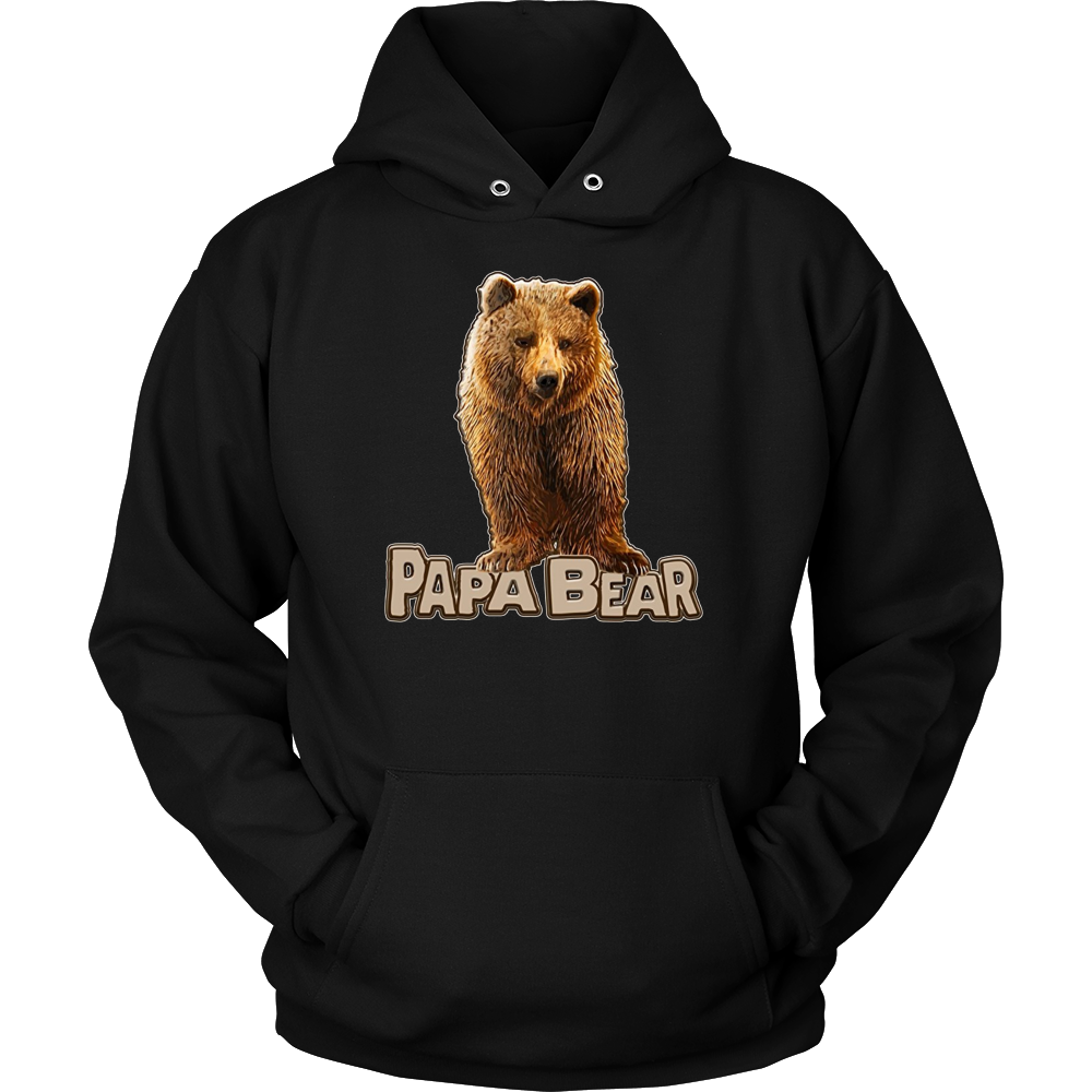Mens Papa Bear Shirt with Grizzly Bear Graphic Illustration