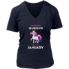 Unicorn queens are born in January- Birthday T-shirt