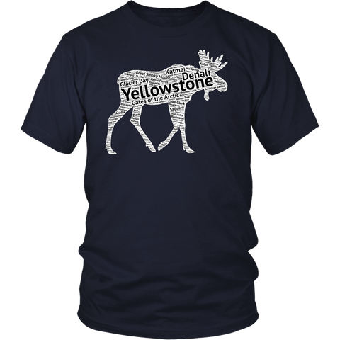 National Park Moose T Shirt Lists all 59 National Parks