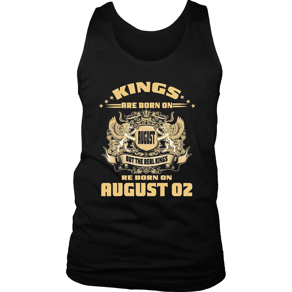 Mens Kings Are Born on August 02 Birthday T Shirt