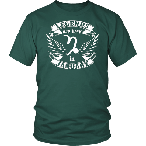 Legends Are Born In January Capricorn Zodiac T-Shirt