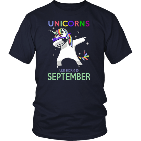 Dabbing unicorns are born in September cute unicorn t shirt