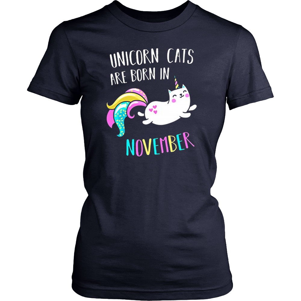 Unicorn Cats Are Born in November T-Shirt (kitty shirts funny)