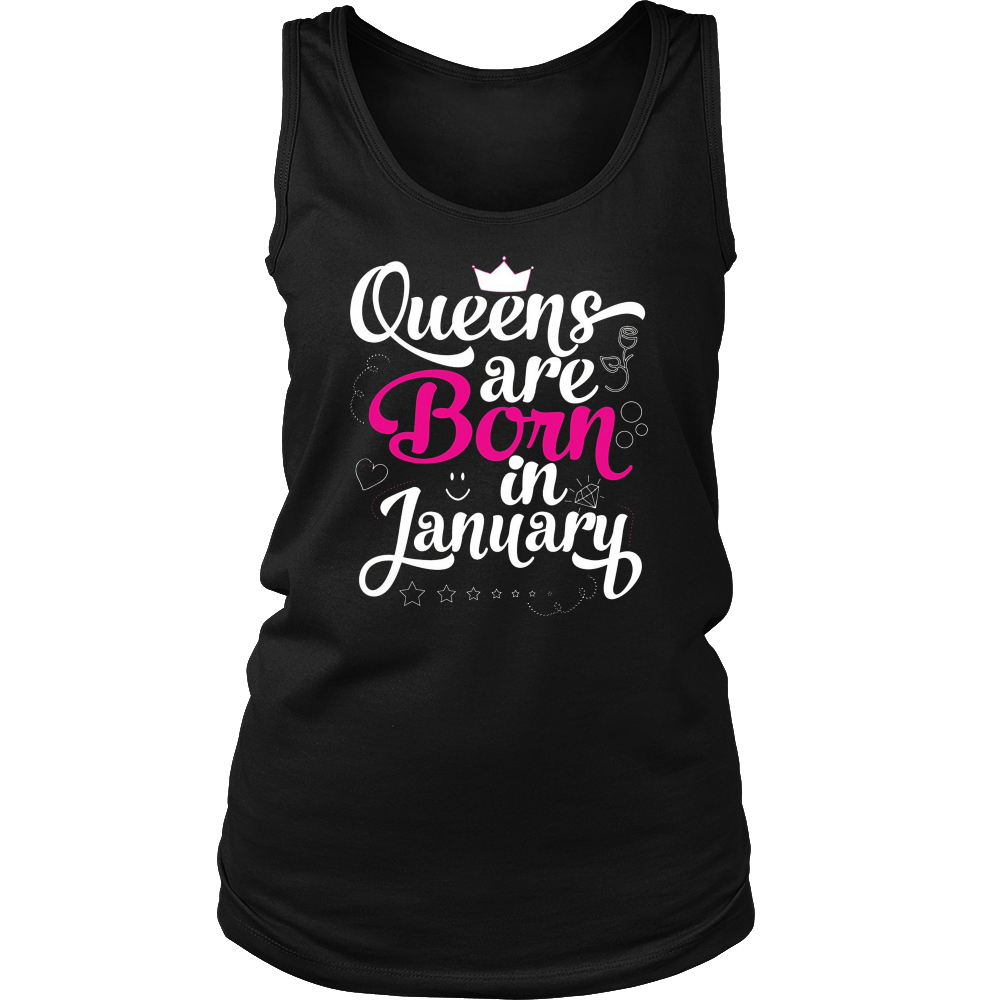 Queens Are Born in January Shirt - Birthday Gift For Girl