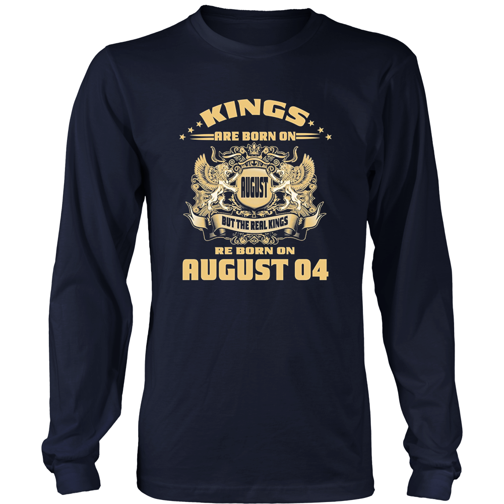 Mens Kings Are Born on August 04 Birthday T Shirt