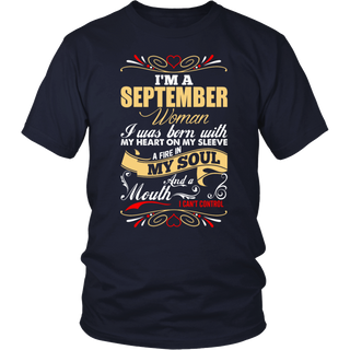 Womens I'm a September Woman T-Shirt Birthday Gift Shirt.