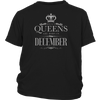 Womens Queens are Born in DECEMBER Vintage Grey Funny T-shirt