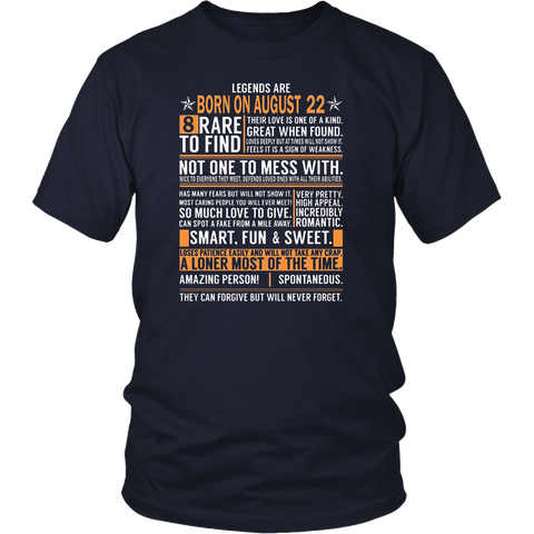 Legends Are Born On August 22 Birthday Gift Shirt