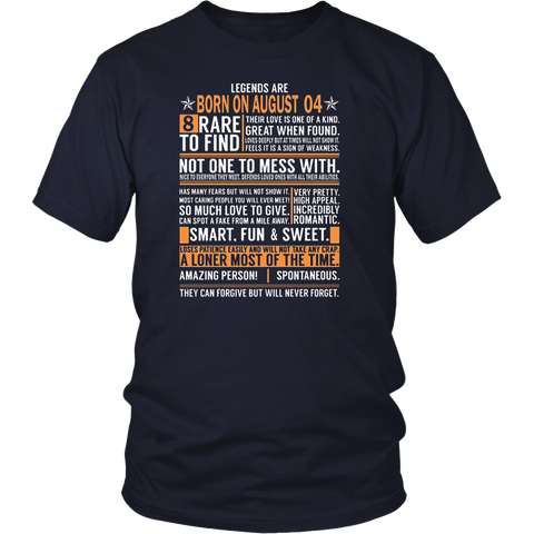Legends Are Born On August 04 Birthday Gift Shirt
