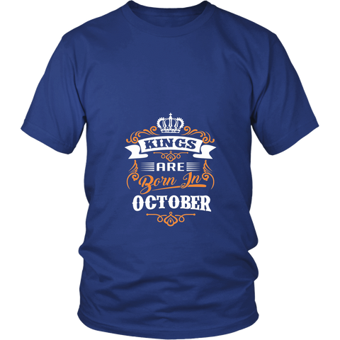 Men's Kings are born in October T-Shirt Gold Foil Edition Shirt