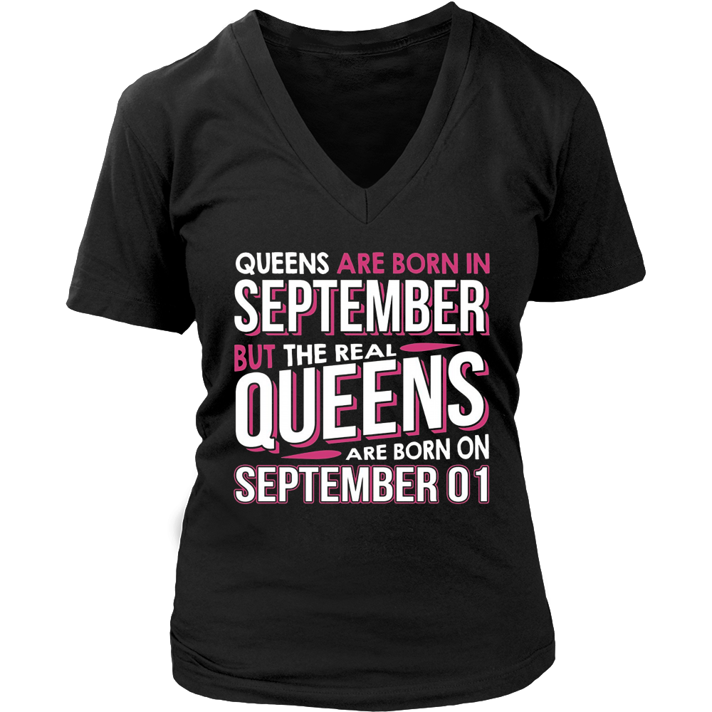 Real Queens Are Born On September 01 T-shirt 1st Birthday