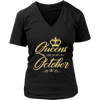 Womens Queen Are Born in October NewStyle Gold C1 Funny T-shirt
