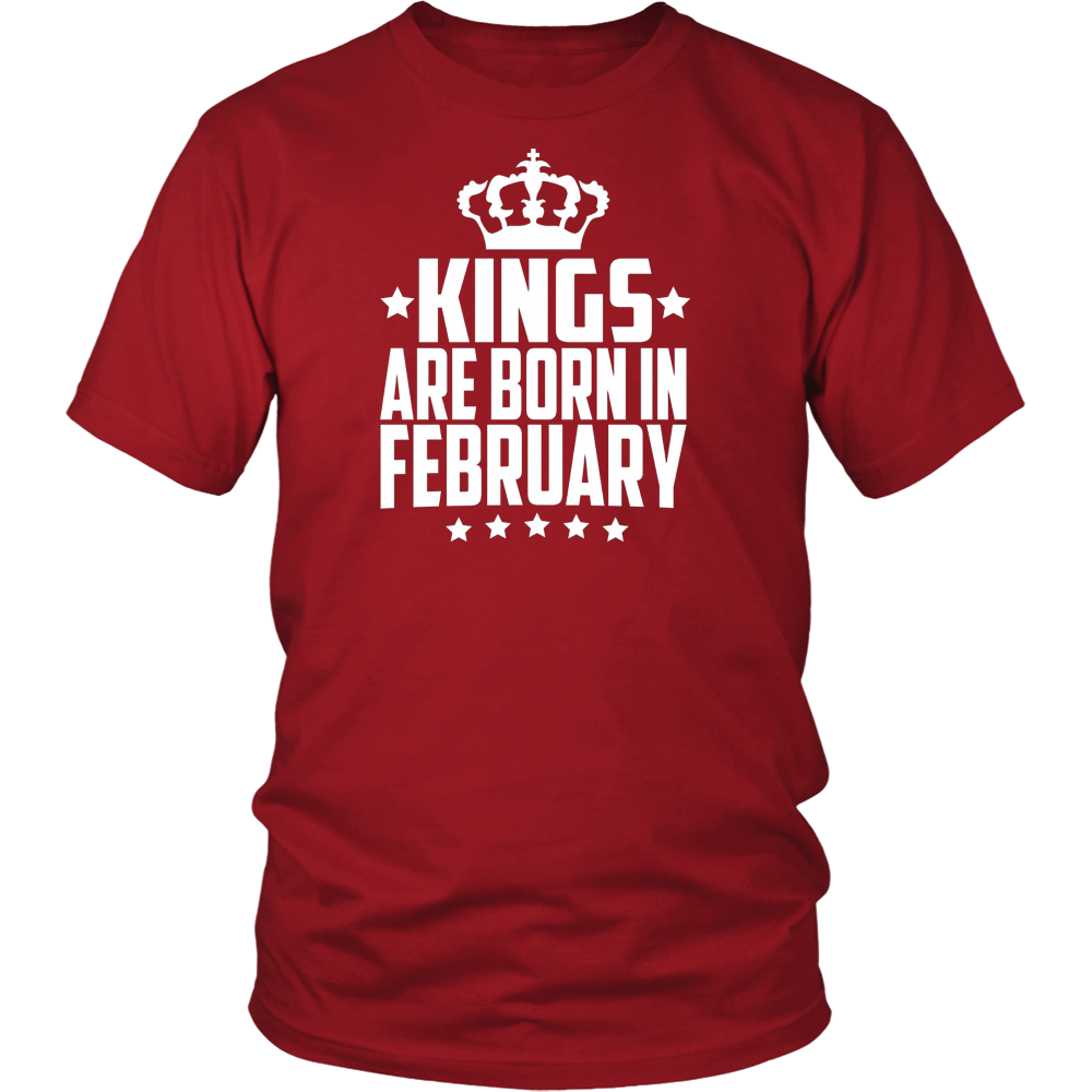 February birthday Kings are born in February birthday t-shir