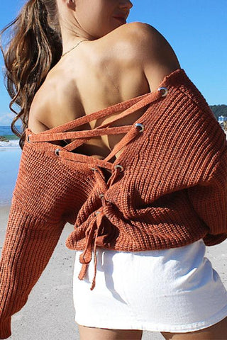 Sheinlove Just Wanna Lace-up Knitting Sweater