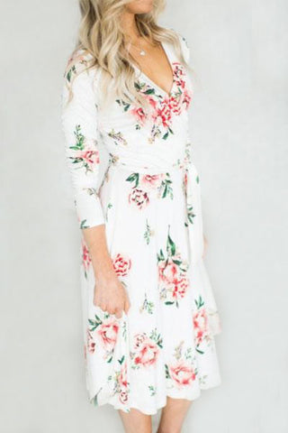 Sheinlove Floral Printing V-neck Casual Dress