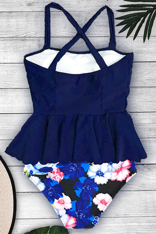 Sheinlove Peplum Waist Printed Two Piece Swimwear
