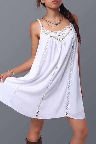 Sheinlove Lace Panel Casual Spaghetti Strap Dress