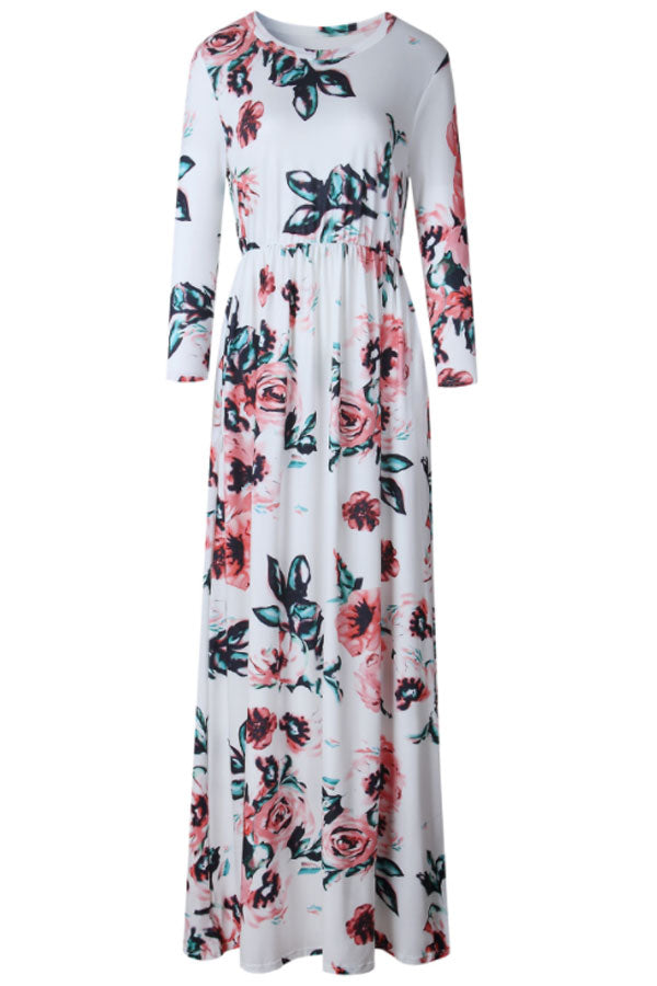 Sheinlove Flowering Prints Round Neck Casual Maxi Dress